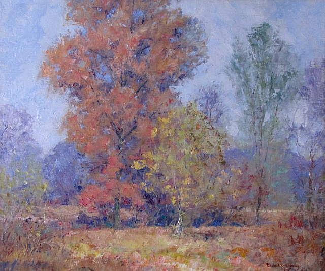 Edward K. Williams 25x30 O/C Vivid Autumn Landscap
