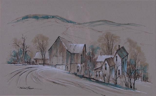 Edward Basker 10.75x17.25 WC/Pastel Early Winter F