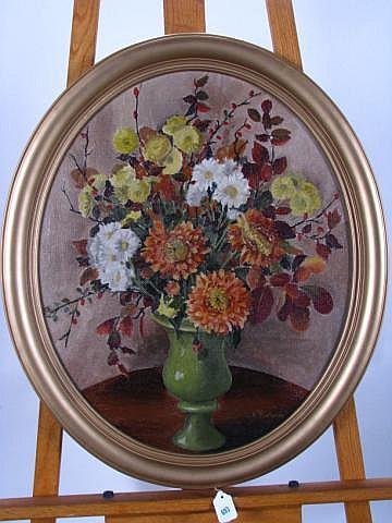 Esther Nusbaum 23 x 19 O/B Floral Still Life