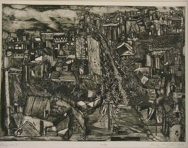 Rudy Pozzatti (IN, 1925 - ), 17.5 x 23.5 etching,