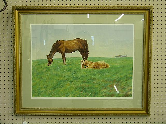William Nelson 18 x 25 Litho Mare and Foal
