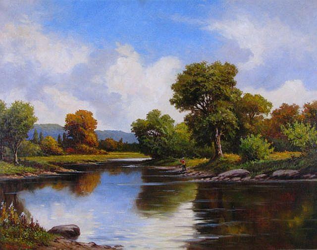 Norman Badgley 28 x 36 O/C Fisherman, Landscape