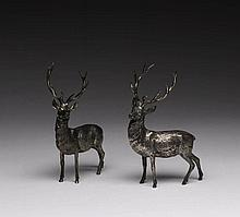PAIR OF CONTINENTAL CAST SILVER STAGS
