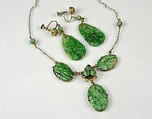 CHINESE JADEITE NECKLACE & EARRINGS