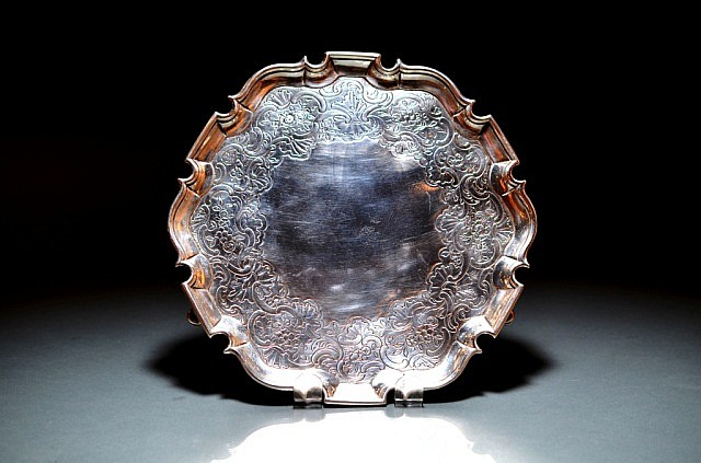 18TH CENTURY SILVER SALVER BY EDWARD LOTHIAN