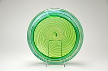 Murano Green Swirl Glass Bowl