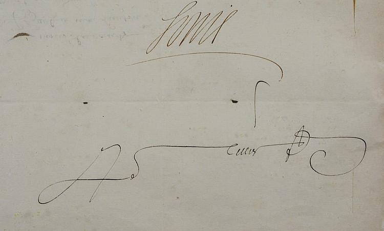 a signed letter from king louis xiv france. Black Bedroom Furniture Sets. Home Design Ideas