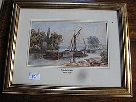 """A watercolour river scene with barges 11"""" x 7"""""""