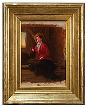 Oil portrait of girl by C.H. Gifford