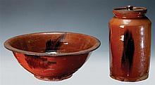 Redware bowl and jar, orange with manganese
