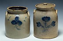 Stoneware crocks, one