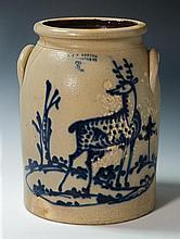 Stoneware 3-gal crock, deer, (pitting & crack)