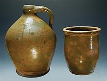 Two 19th c. N.H. Redware pieces