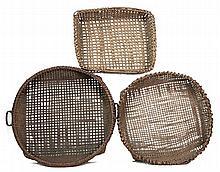 Three 19th c. NE winnowing baskets