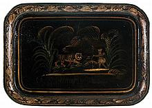 Tole tray with hand-painted tiger