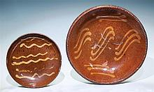Two Redware plates, 6 1/4