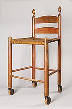 Rare weaver's chair w/ wheels