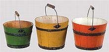 Three small pails, green, bittersweet & yellow