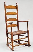 Rocking chair, Canterbury, NH, rush seat, maple