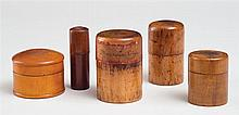 Turned wood containers (5), two labeled