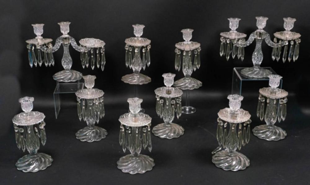 Set of 10 Cut Glass Candlesticks
