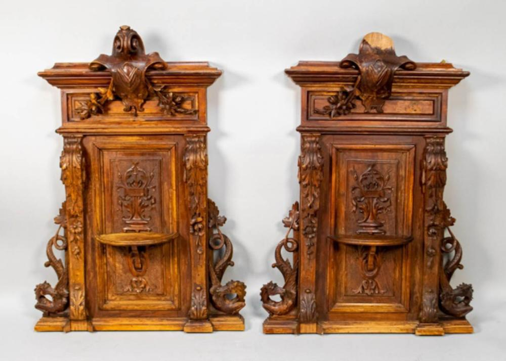 Pair of 19th Century Walnut Wall Carvings