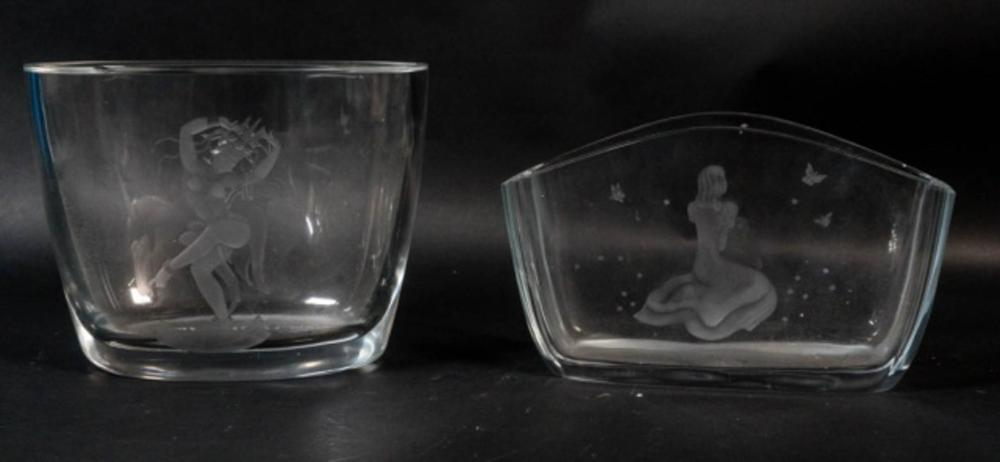 Lot of 2 Etched Orrefors Cathedral Vases