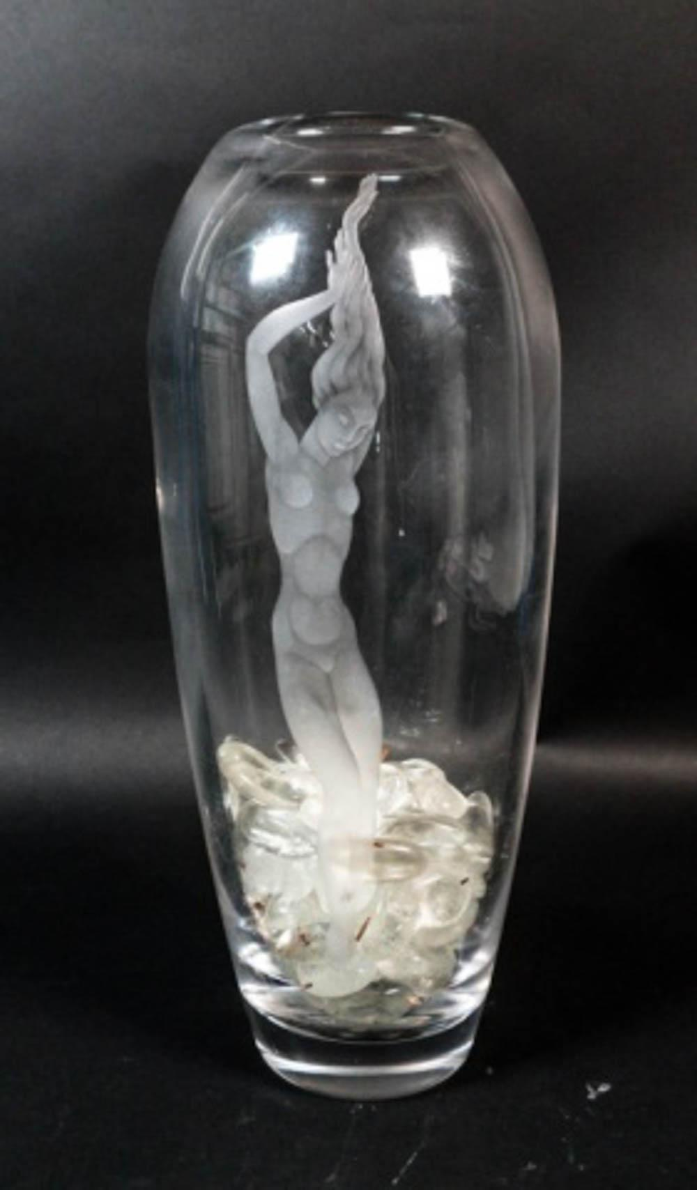 Large Orrefors Etched Glass Vase with Female Nude