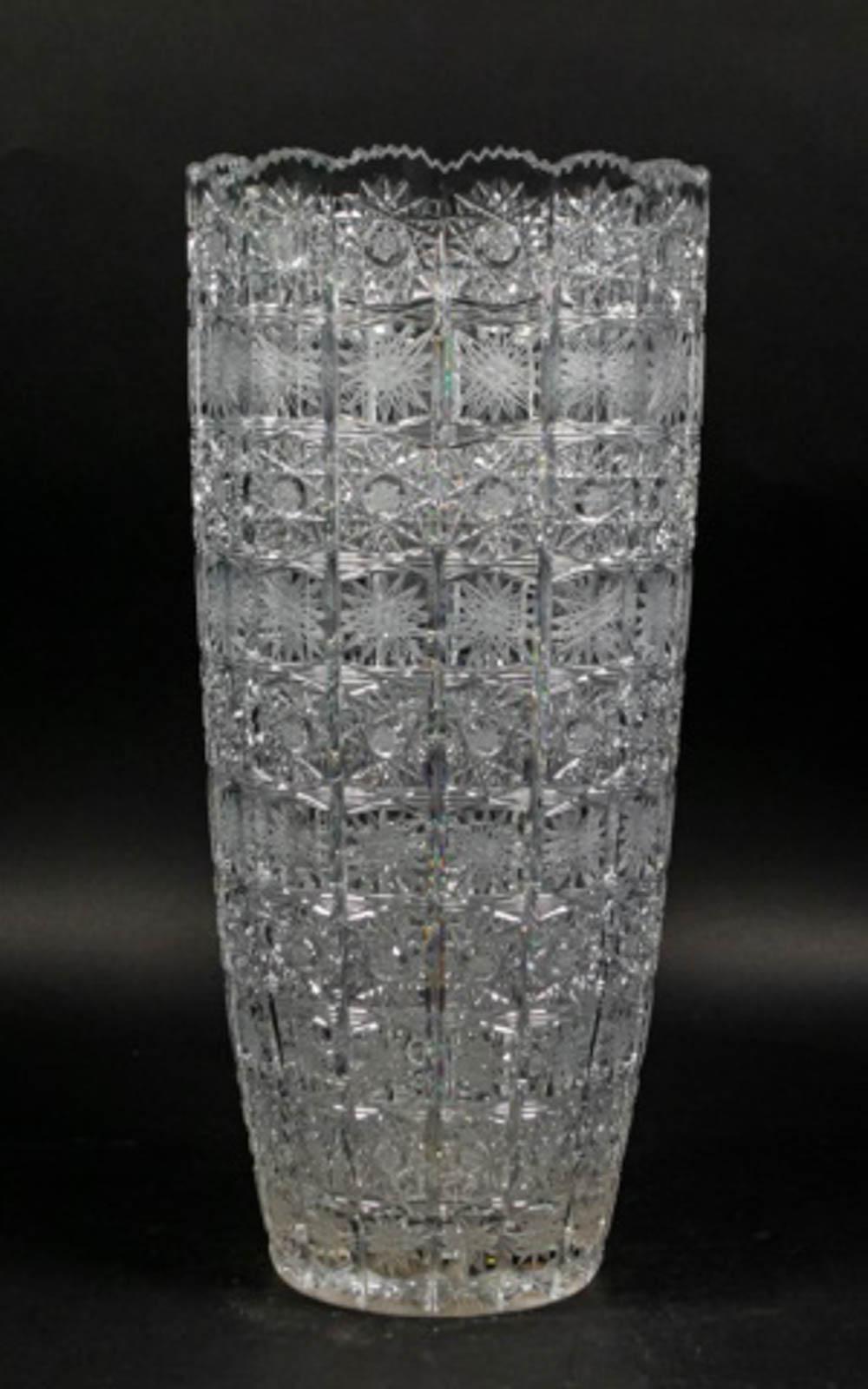 Czech Cut Glass Vase