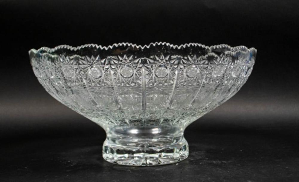 Czech Cut Glass Pedestal Bowl