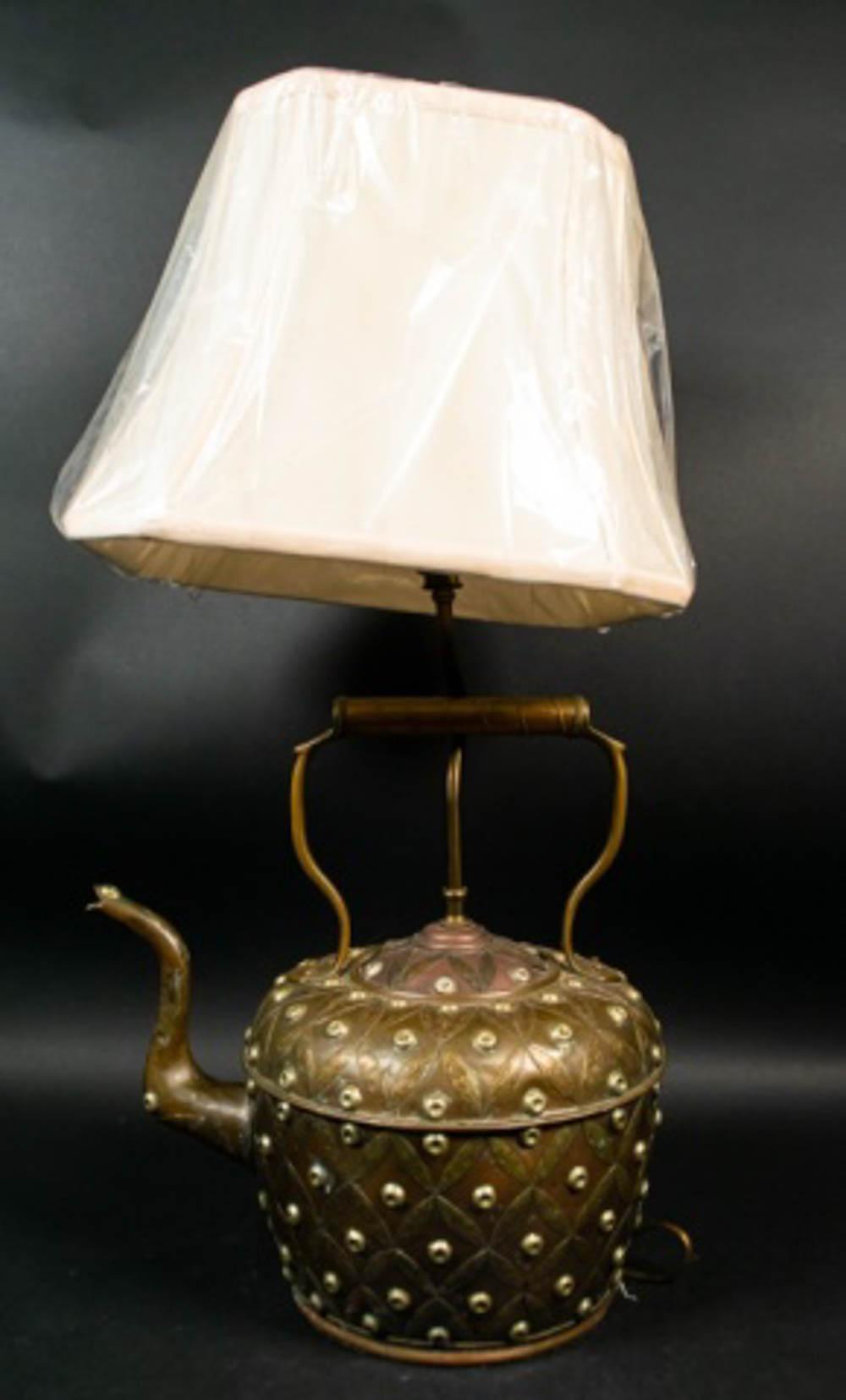 Hammered Brass Teapot Lamp