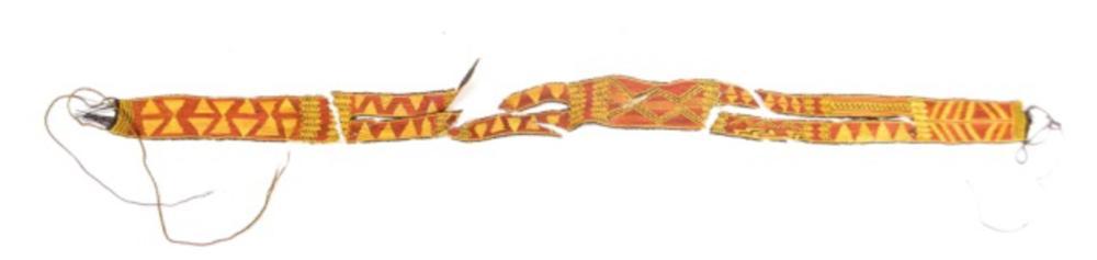 Belt, Vegetal Fiber, Yellow and Red Geometric