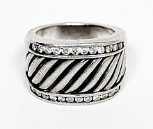 David Yurman Sterling Silver w/ Diamond Ring W1221