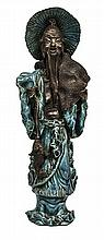Blue Statue Wood & Ceramic W376