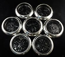 Antique Sterling Silver Coasters Set of 7 W248