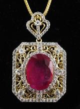 32.25ctw Ruby & Sapphire Silver Necklace K75J4