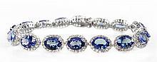 13.58ctw Tanzanite&Sapphire; Silver Bracelet K19J43