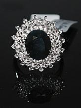 6.66ctw Blue&White; Sapphire Silver Ring K23J3