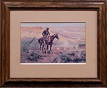Old Framed Western Scene W26