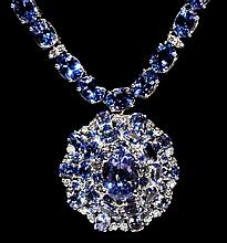 14kt WG 53.08ctw Tanzanite& Diamond Necklace K127J59
