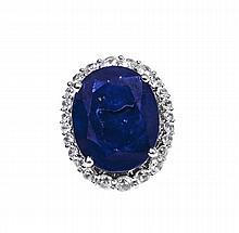 14.16ctw Blue&White Sapphire Silver Ring K28J3