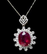 14kt Yellow Gold 13.50ct Ruby&Diamond Pendant K61J14