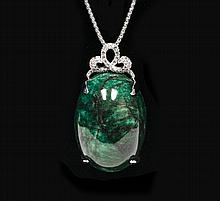 153.50ctw Emerald & Sapphire Silver Pendant K48J9