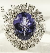 14KT WhiteGold 3.61ct Tanzanite&Diamond Ring K47J61