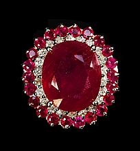 14kt White&Yellow; Gold 10.55ctw Ruby & Dia Ring K23J14