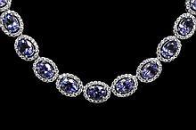 30.40ctw Tanzanite&Sapphire Silver Necklace K27J49