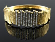 14kt YellowGold 1.15ctw Diamond Bangle Bracelet WG12005