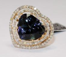 14KT YellowGold 13.87ct Tanzanite &Diamond Ring K88J13