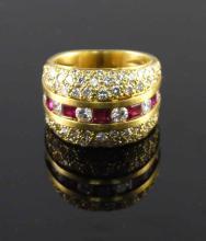 18kt YellowGold 1.36ct Ruby &Diamond RingWG12005