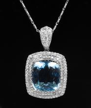GIA 14K 26.85ct Aquamarine&Diamond Necklace K19E985